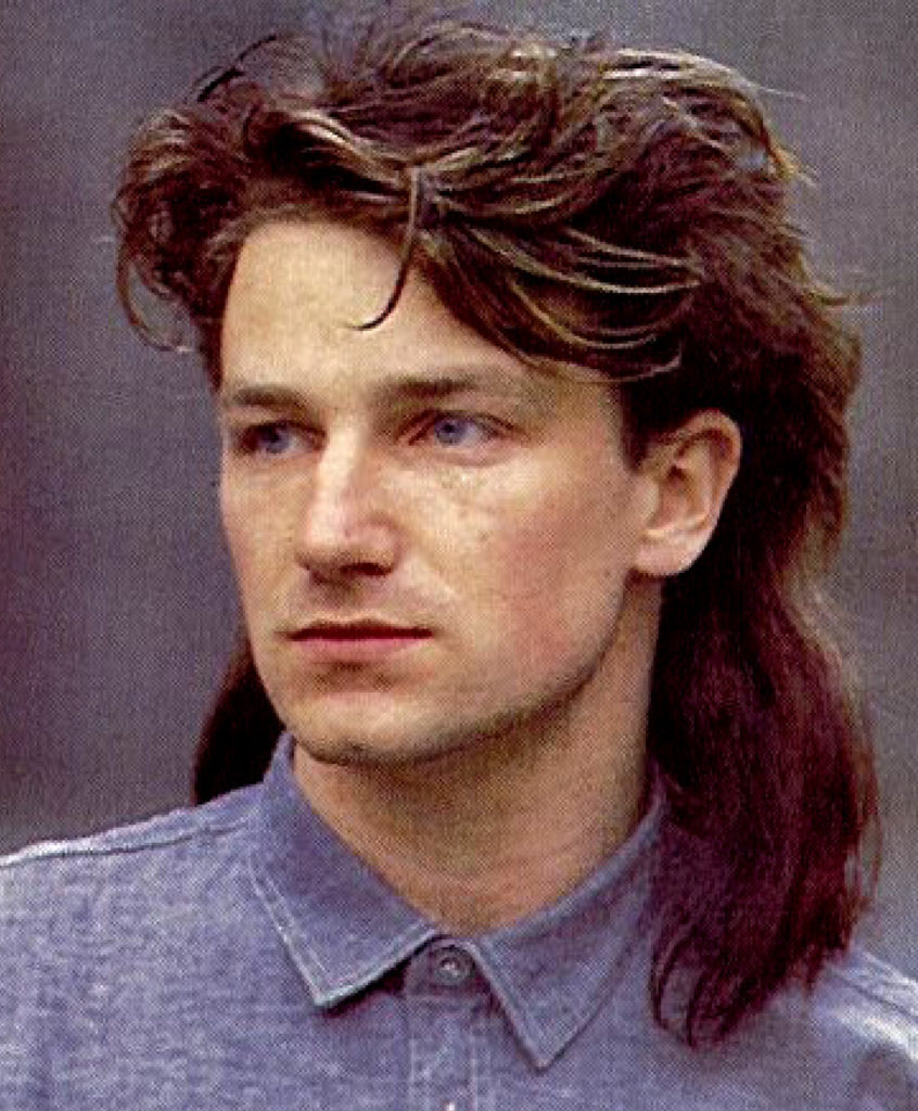 Bono The lead singer of U2 brought serious mulletude to music charts of the late '80's